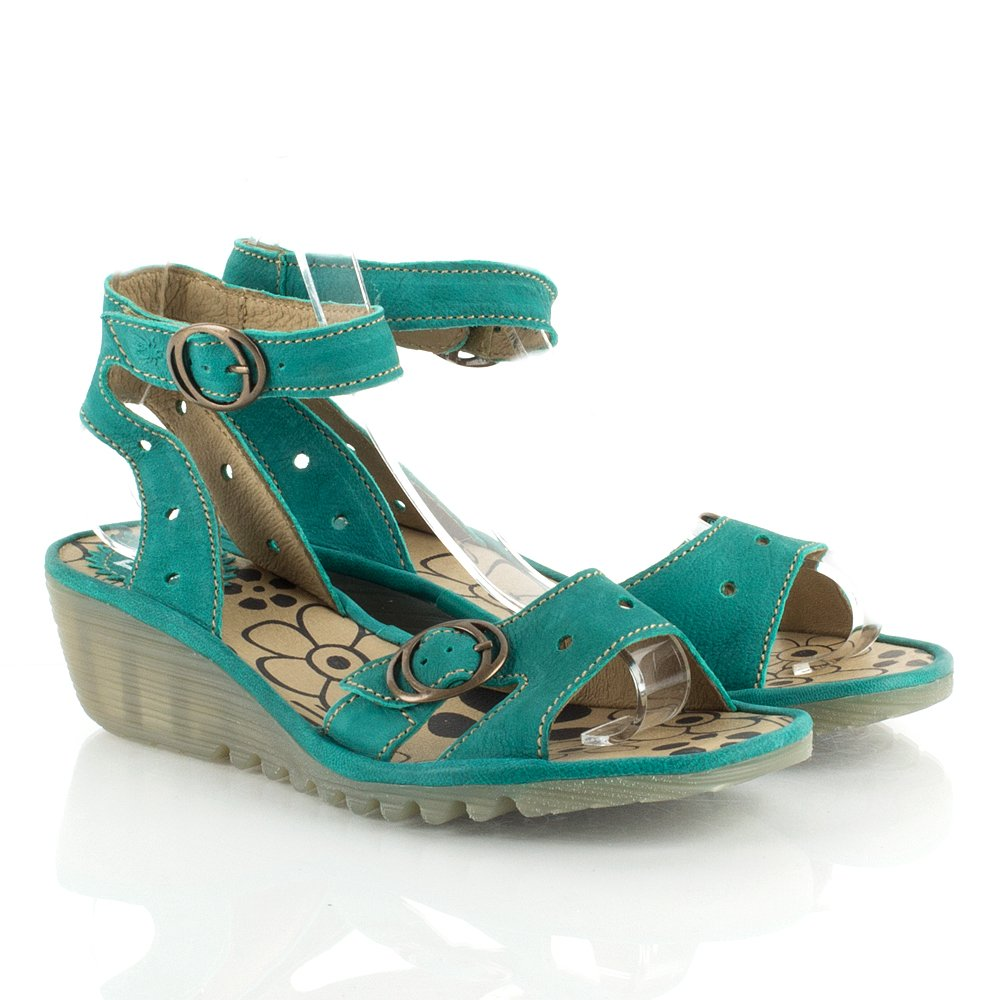 Fly London Oreo Women S Turquoise Low Wedge Sandal