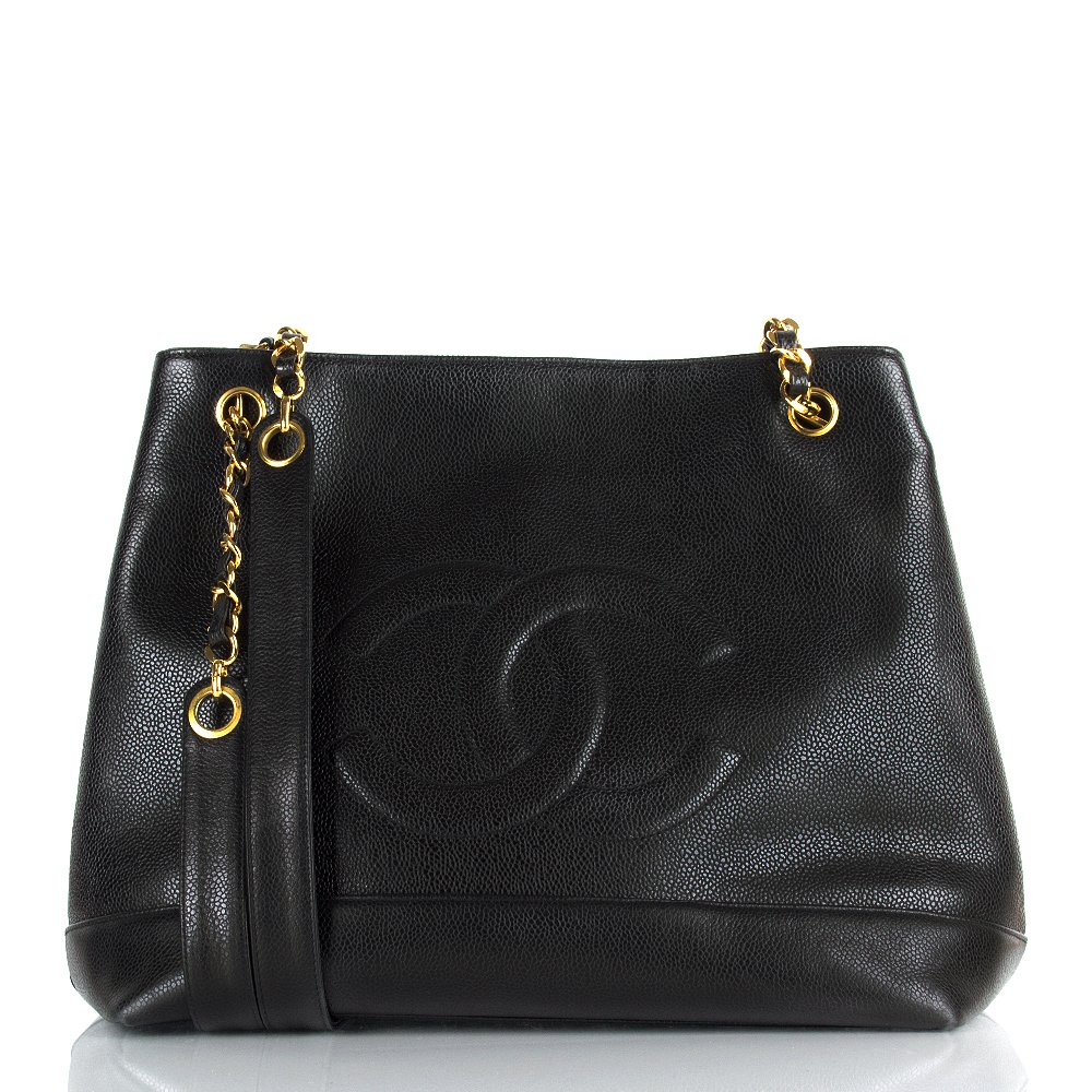 New Chanel Womens Black Leather Chain Detail Vintage Tote Bag  Www