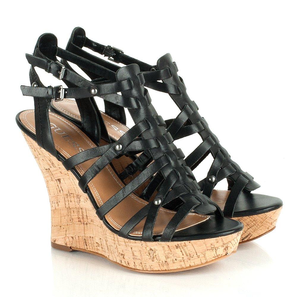 Guess Black 94335 Women S Multi Strap Wedge Sandal