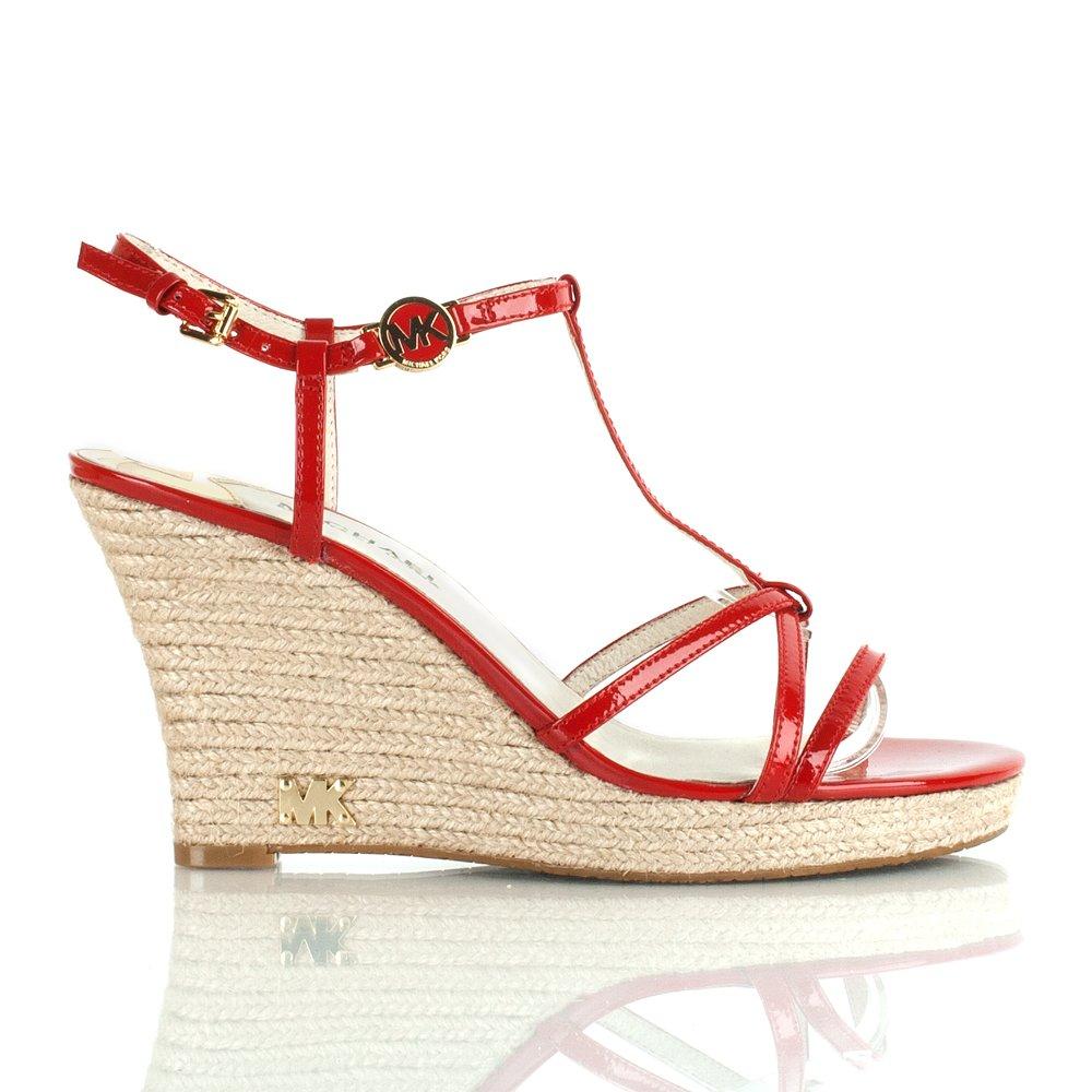 Michael Kors Red Kami T Strap Wedge Sandal
