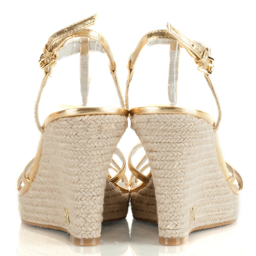 Michael Kors Gold Kami T Strap Wedge Sandal