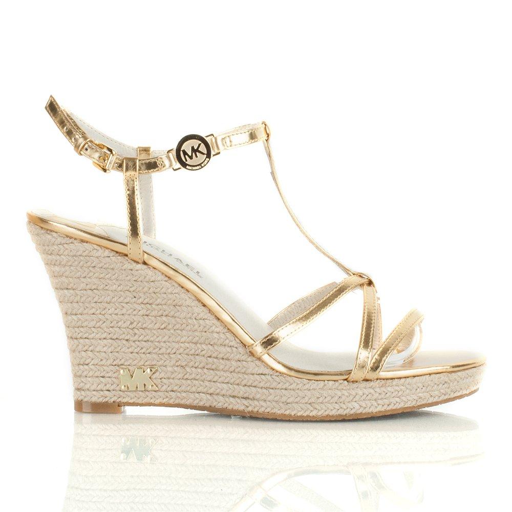 Michael Kors Gold Kami T Strap Wedge Sandal