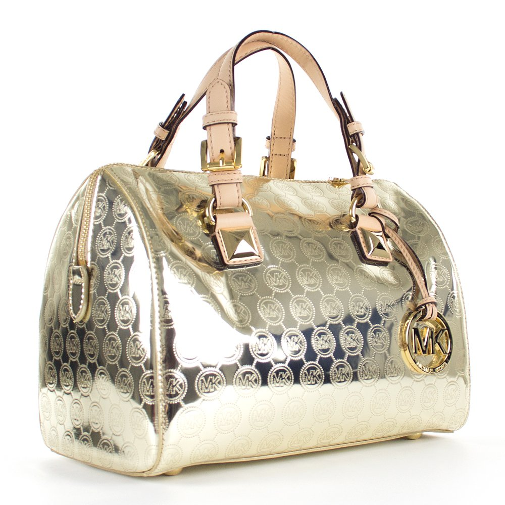 michael kors gold grayson monogram large satchel womens bag