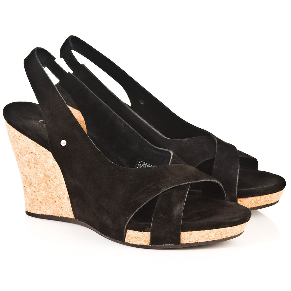 Ugg R Black Hazel Wedge Sandal