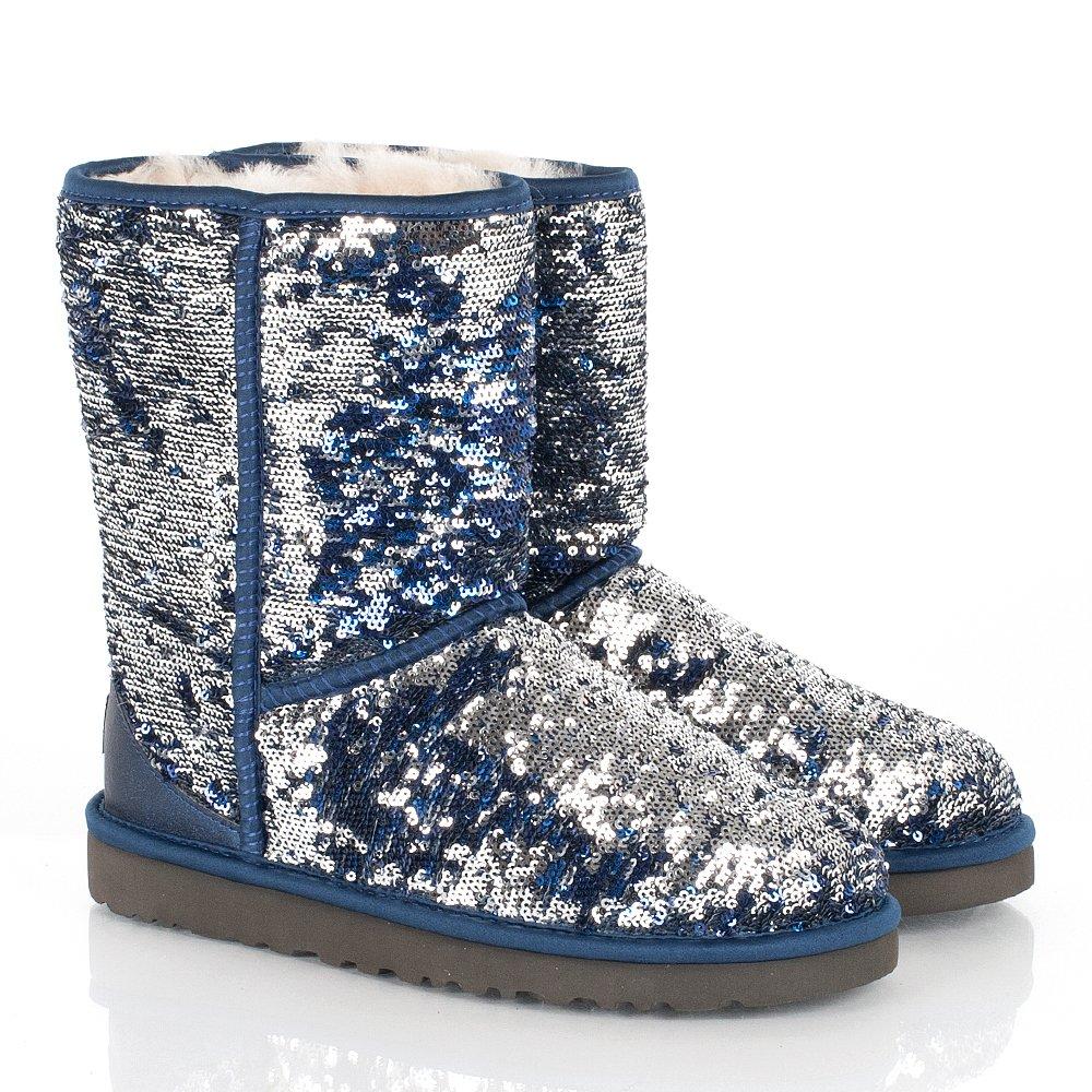 ugg navy classic short sparkle women s flat boot. Black Bedroom Furniture Sets. Home Design Ideas