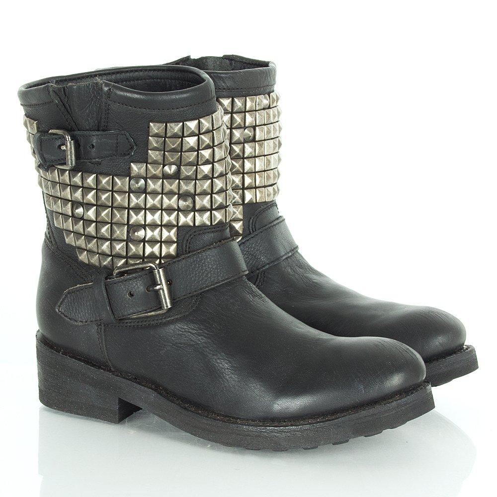 ash black leather titan s ankle biker boot ash