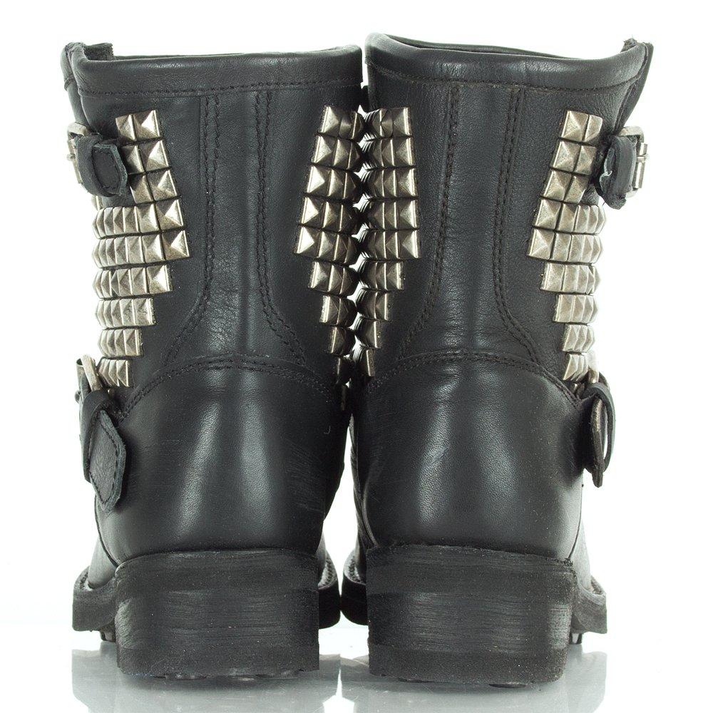 Ash Black Leather Titan Women S Ankle Biker Boot Ash