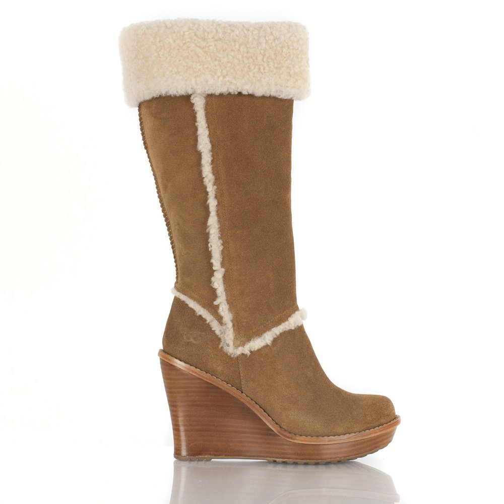 ugg chestnut women s aubrie wedge calf boot
