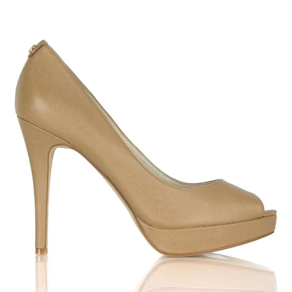 michael kors york platform beige saffiano court shoe