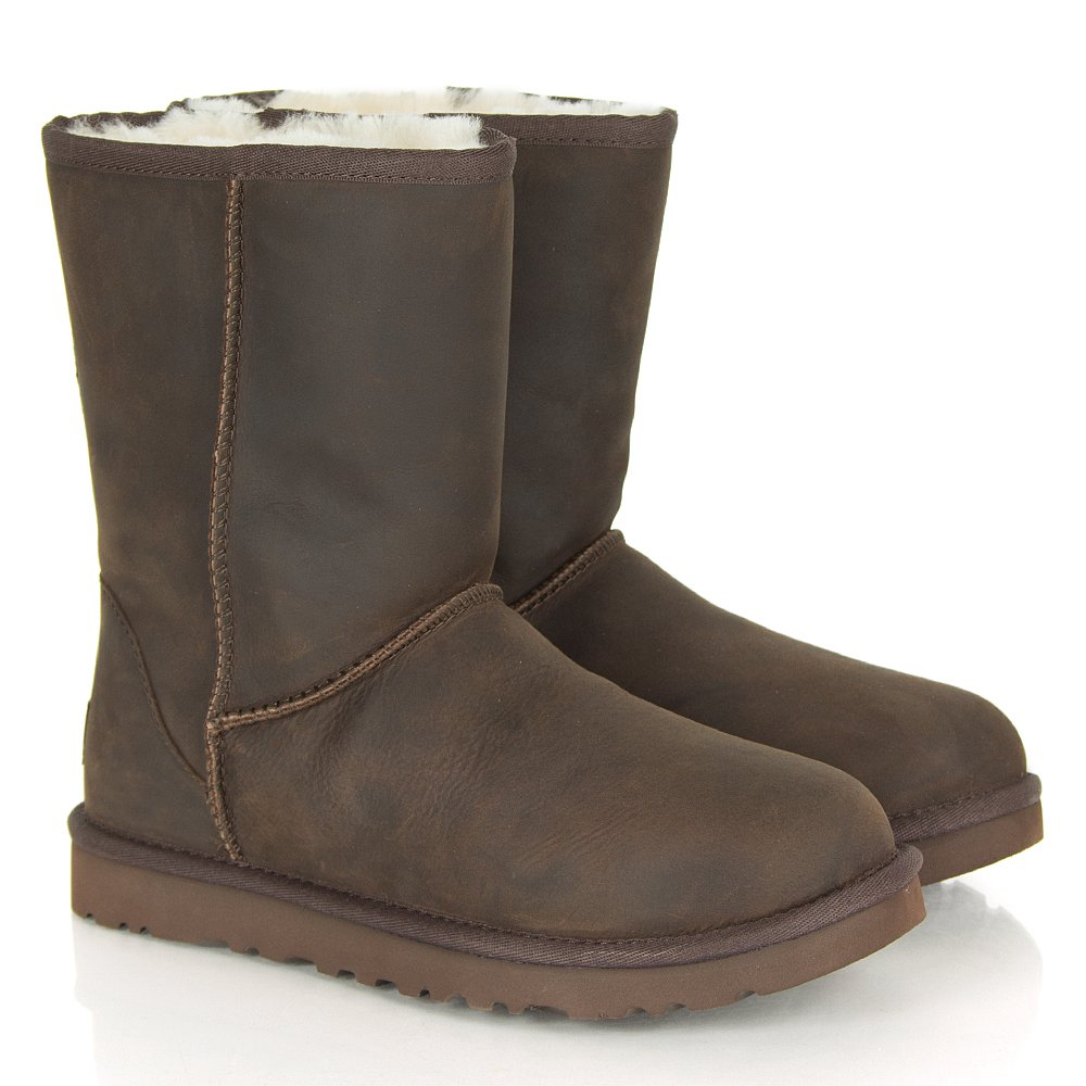 ugg australia classic short chocolate women 39 s leather boot. Black Bedroom Furniture Sets. Home Design Ideas