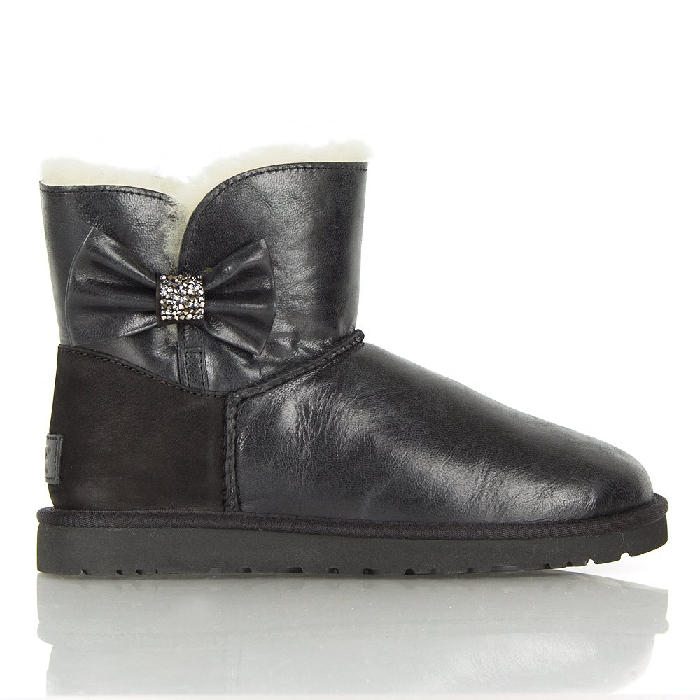 Ugg 174 Black Mini Bailey Bow Crystal Women S Boot