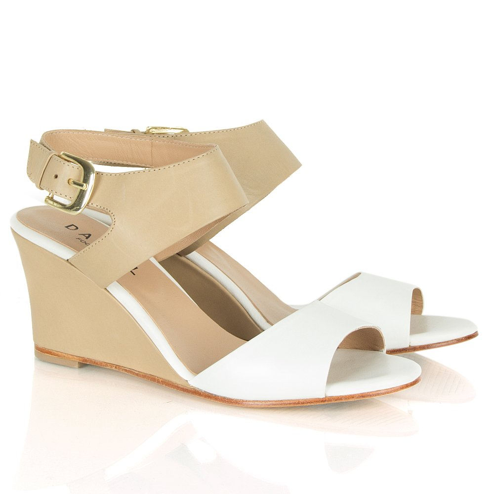 Daniel Arrant Beige White Wedge Sandal