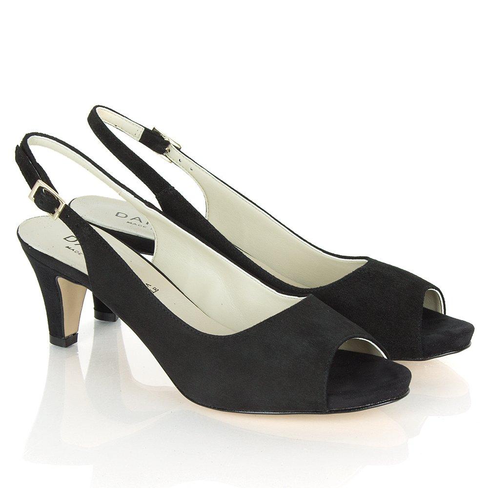 doozie black suede slingback peep toe shoe