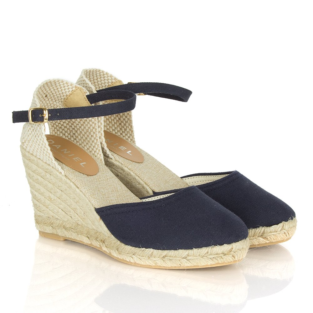 daniel navy craisins s espadrille wedge shoe
