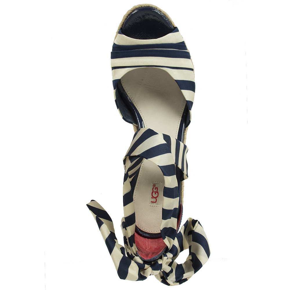 Ugg 174 Lucianna Stripe Navy Women S Wedge Sandal