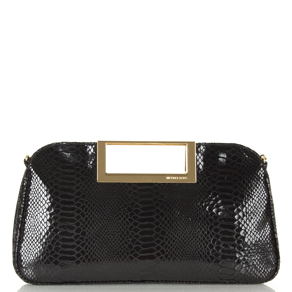 michael kors berkley clutch black patent python bag. Black Bedroom Furniture Sets. Home Design Ideas