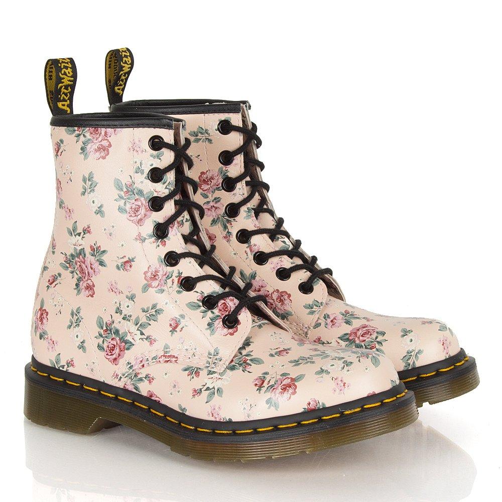 dr martens pink w floral women s 8 eye flat boot. Black Bedroom Furniture Sets. Home Design Ideas