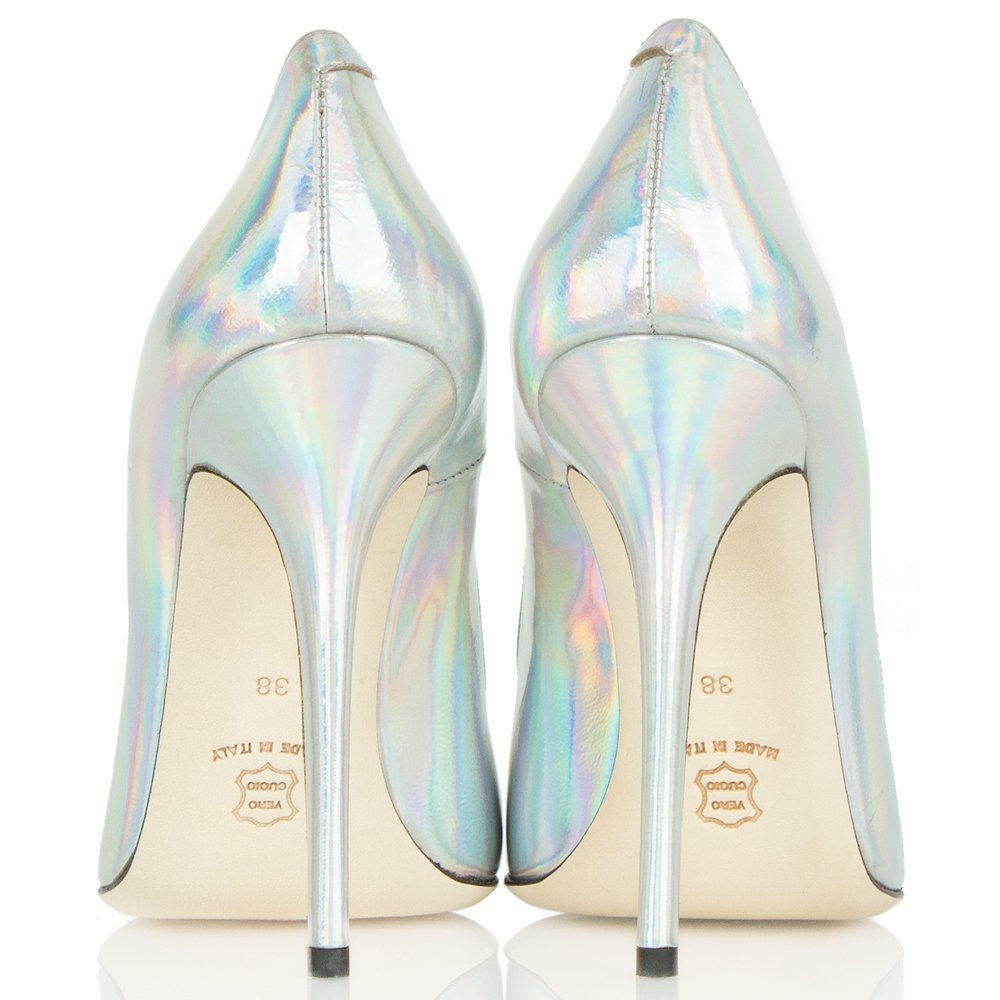 Mustio Iridescent Silver Metallic Court Shoes