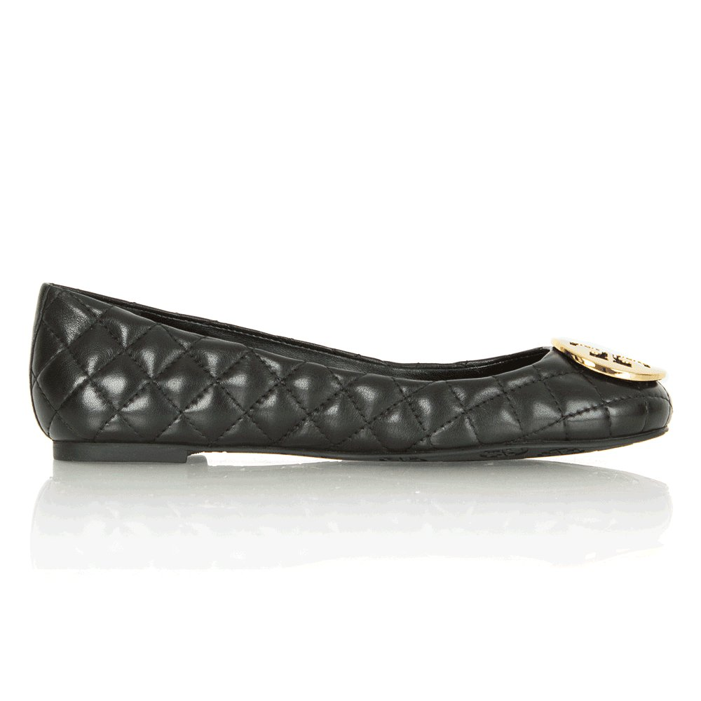 Tory Burch Black Quinn Quilted Leather Women S Ballet Flat