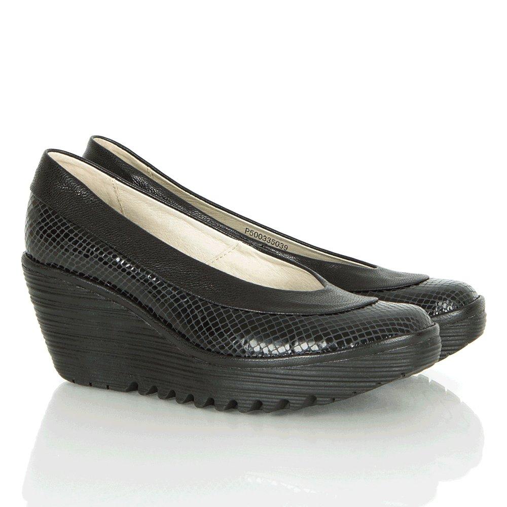 Fly London Black Patent Yoko Women's Wedge Shoe