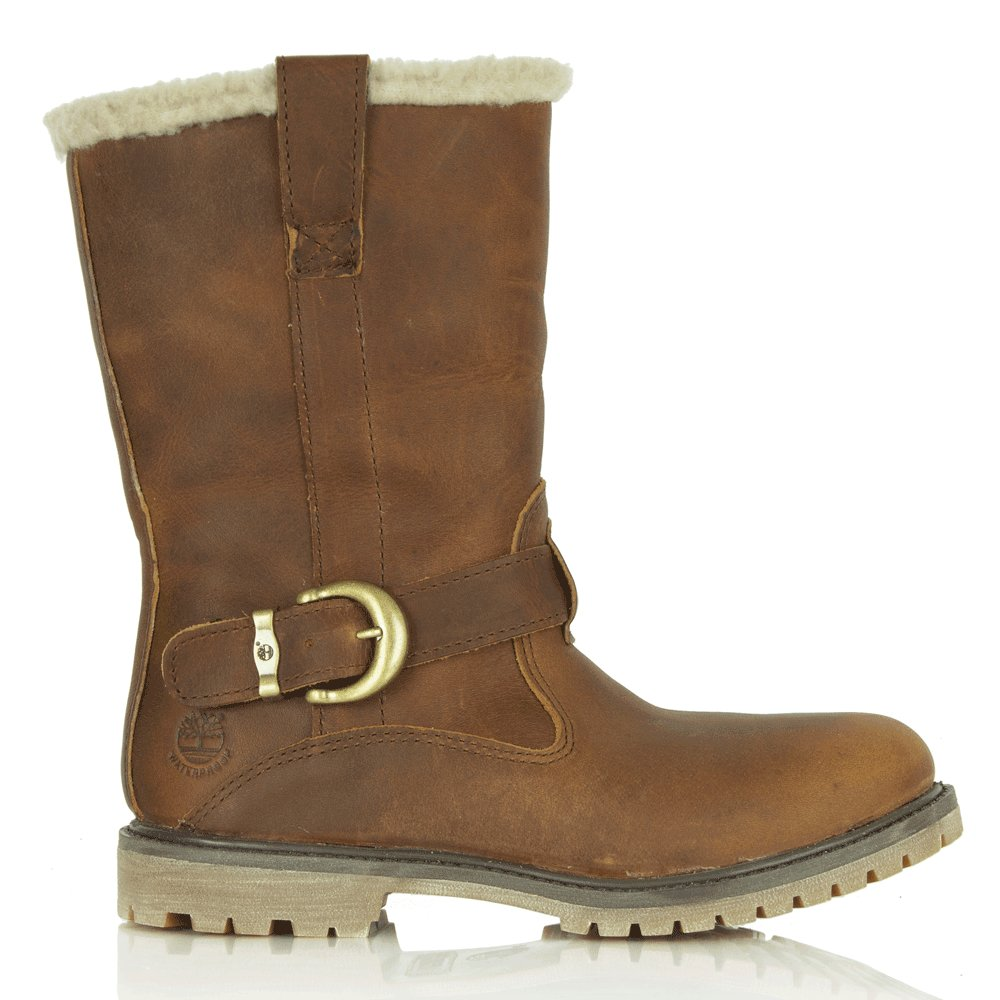 timberland brown leather nellie pull on winter womens boot