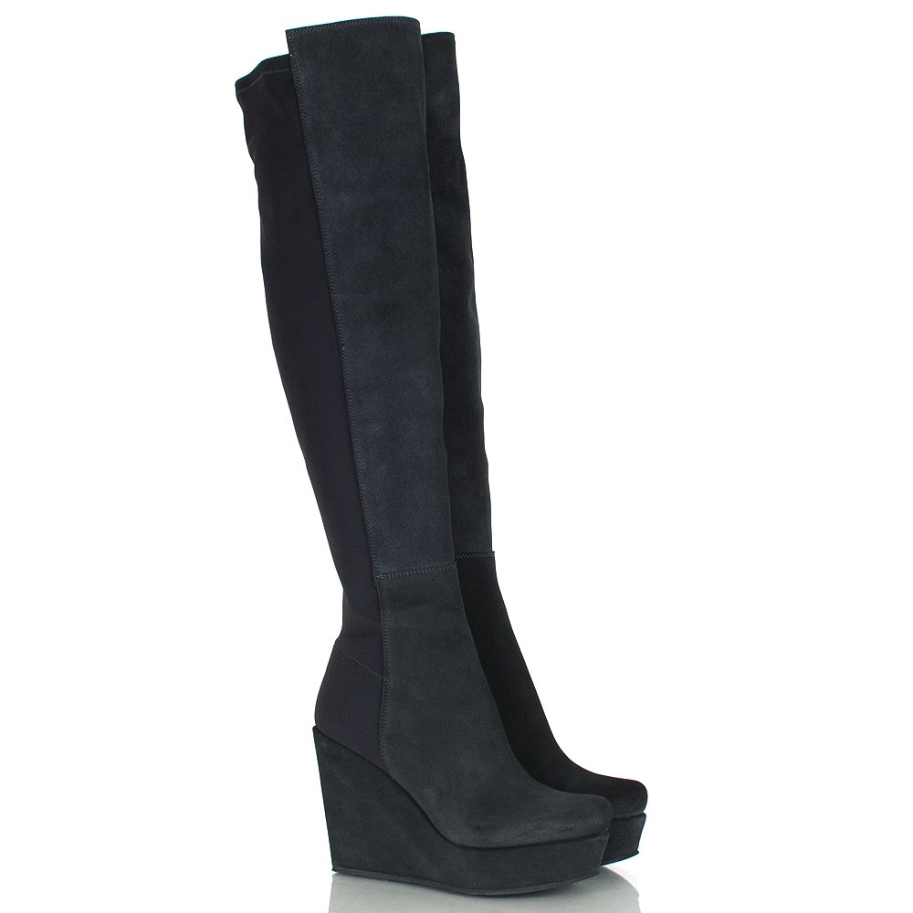 daniel elisabeta navy suede women s wedge knee boot