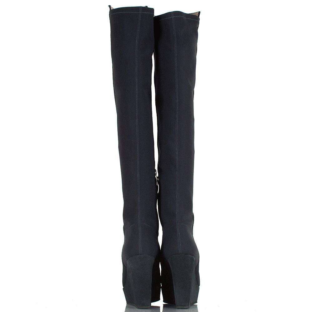 New Flare  Knee High Boots In Ink Navy Suede By TedampMuffy