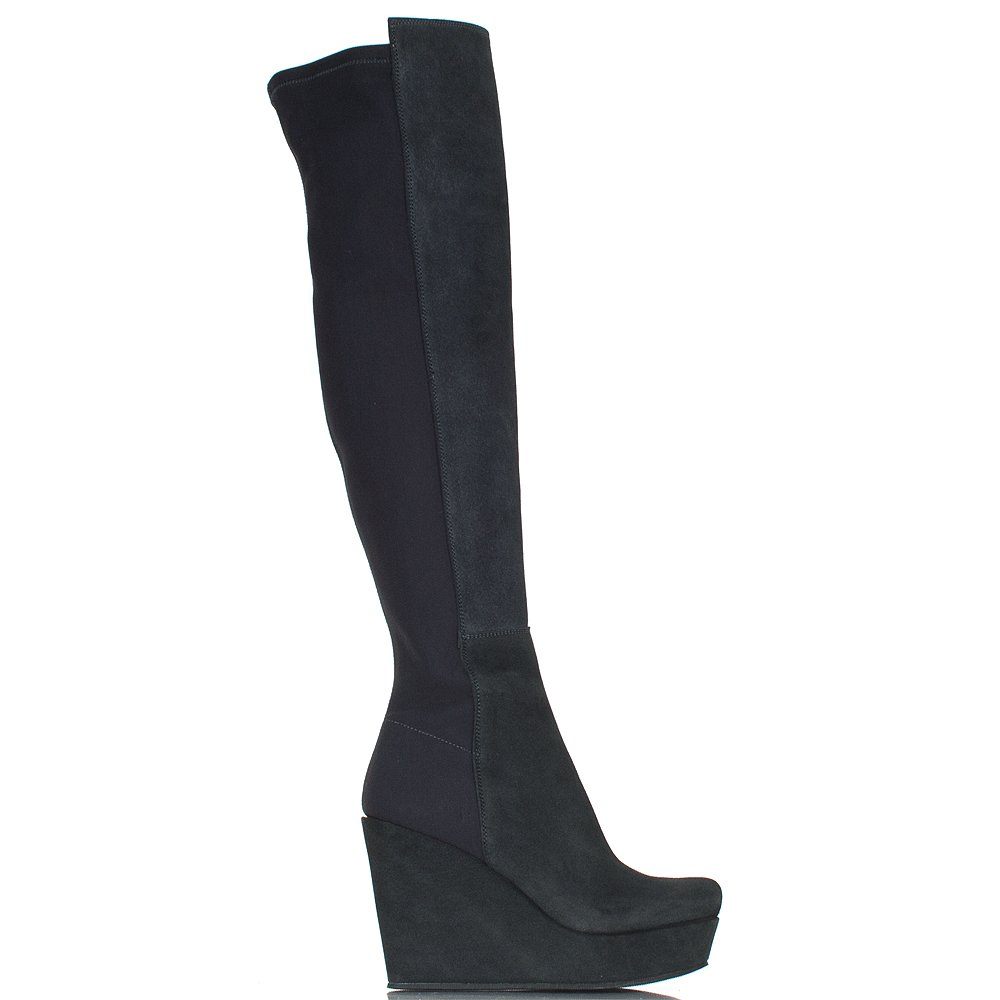 Awesome  DA10 Women Leatherette Paisley Knee High Zip Riding Boot  Navy Shoes