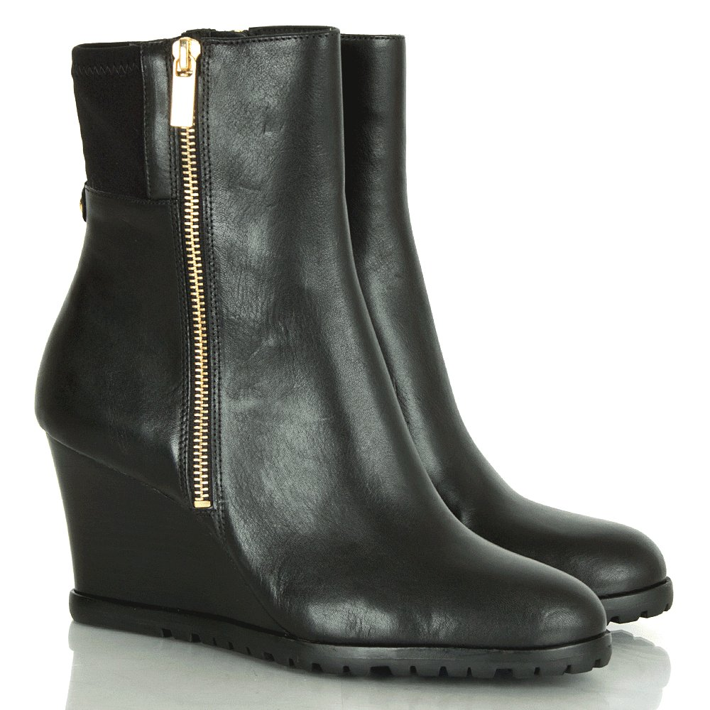 michael kors black aileen wedge s ankle boot