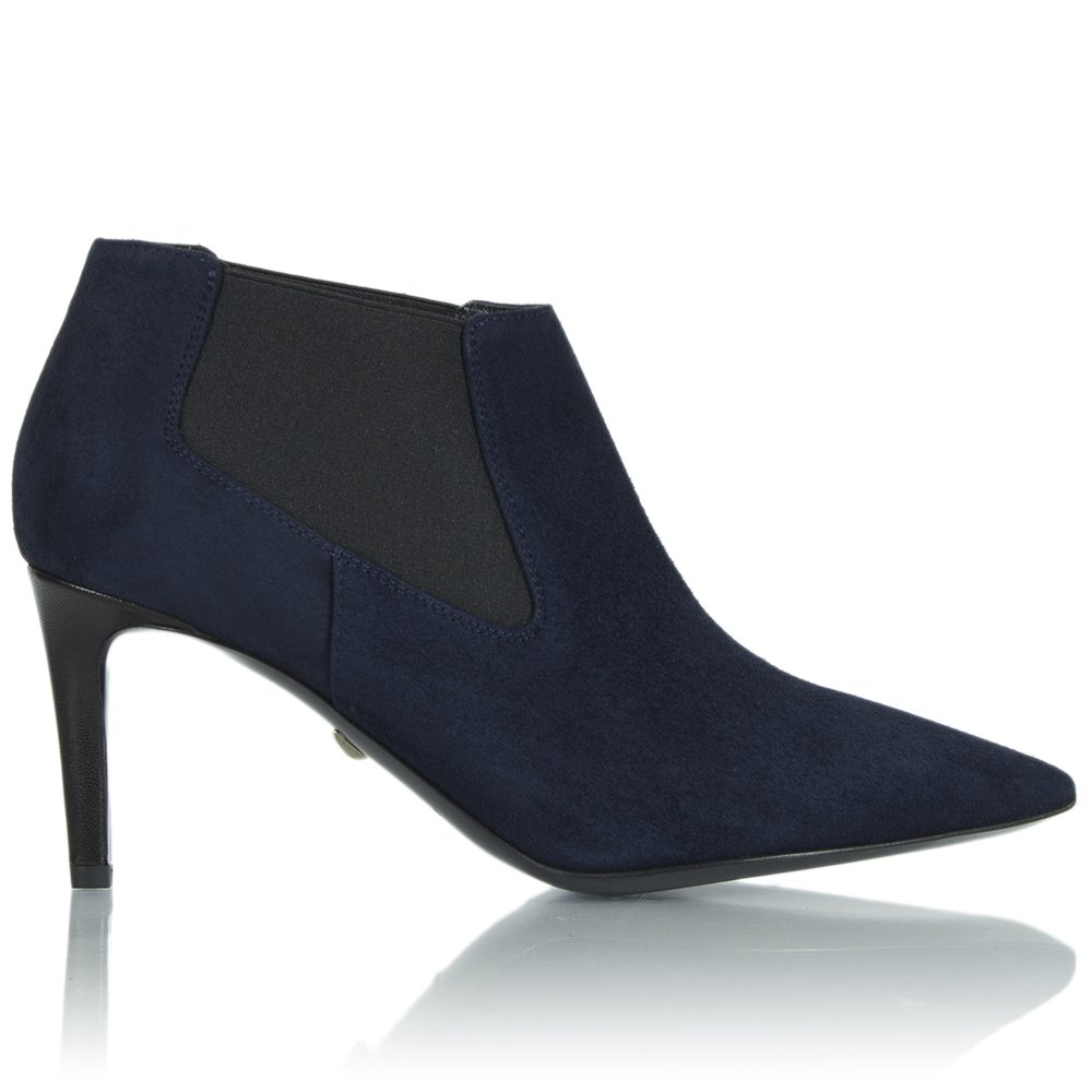 diane furstenberg navy suede shoe 3 pointed ankle boot