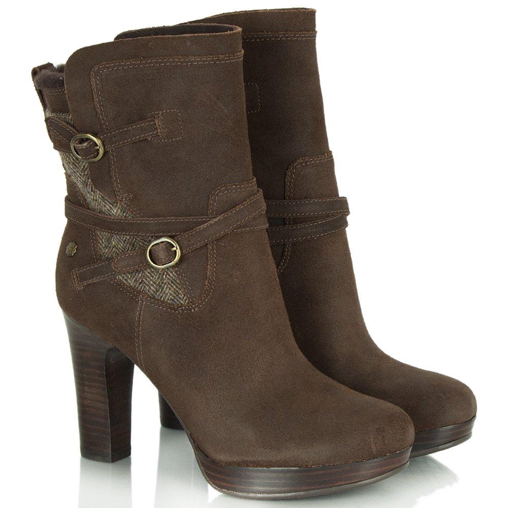 ugg australia tweed java leather s heeled