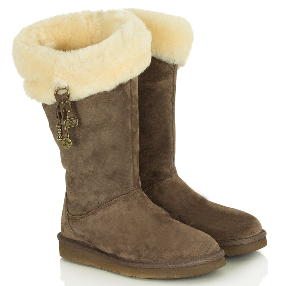 ugg brown plumdale charm flat sheepskin women 39 s boot. Black Bedroom Furniture Sets. Home Design Ideas