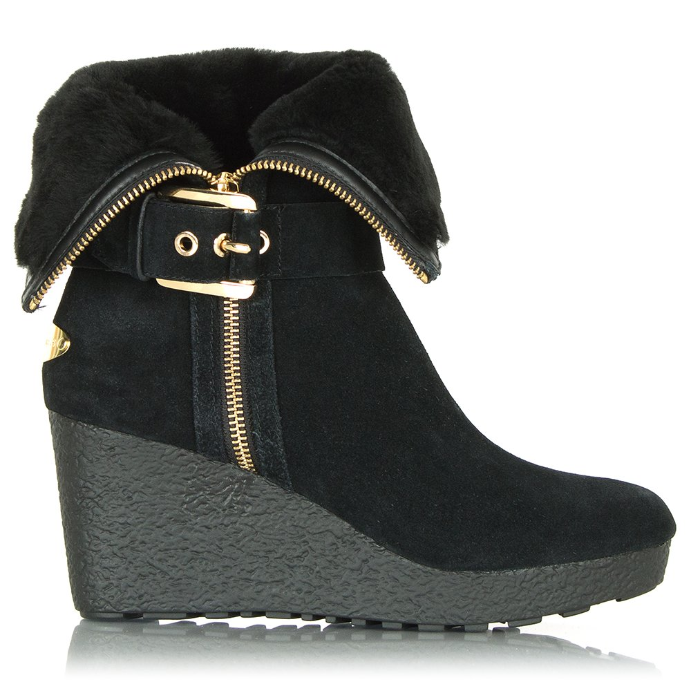 Michael Kors Black Suede Lizzie Wedge Ankle Boot