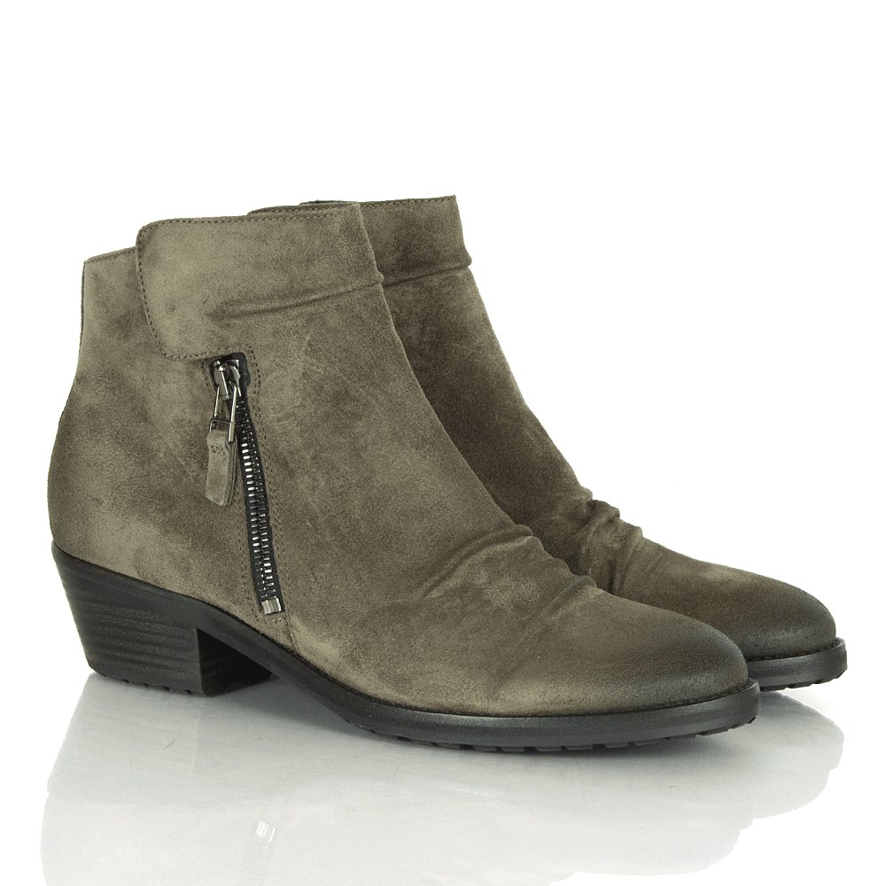 Suede Ankle Boots Low Heel