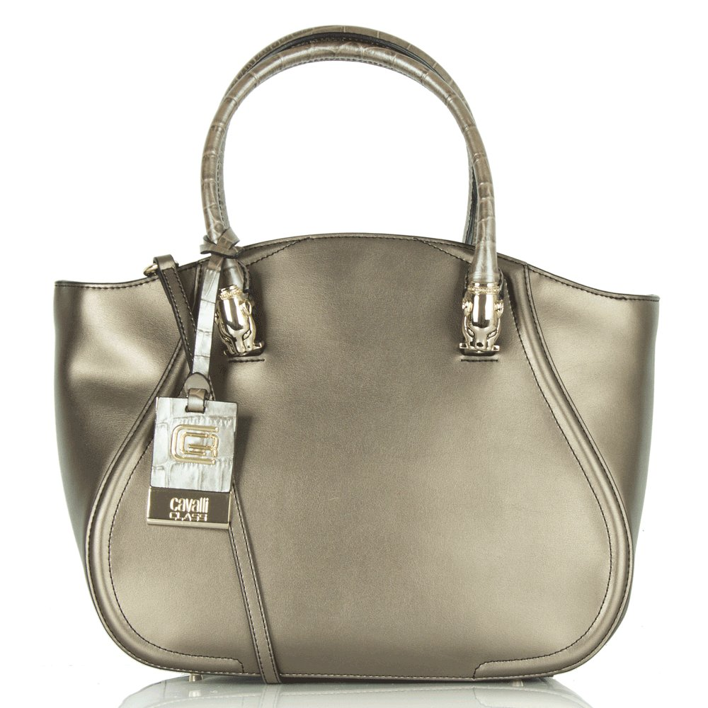 Cavalli Class Bronze Leather Daphne Tote Bag