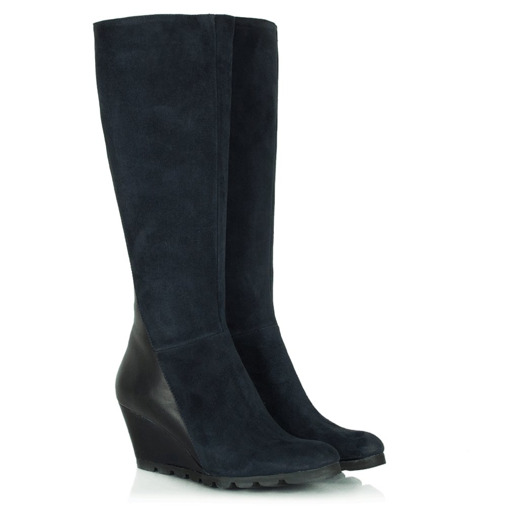 lamica acimal 70 navy suede wedge knee boot
