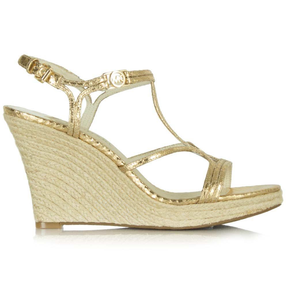 Michael Kors Gold Leather Cicely Wedge Sandal