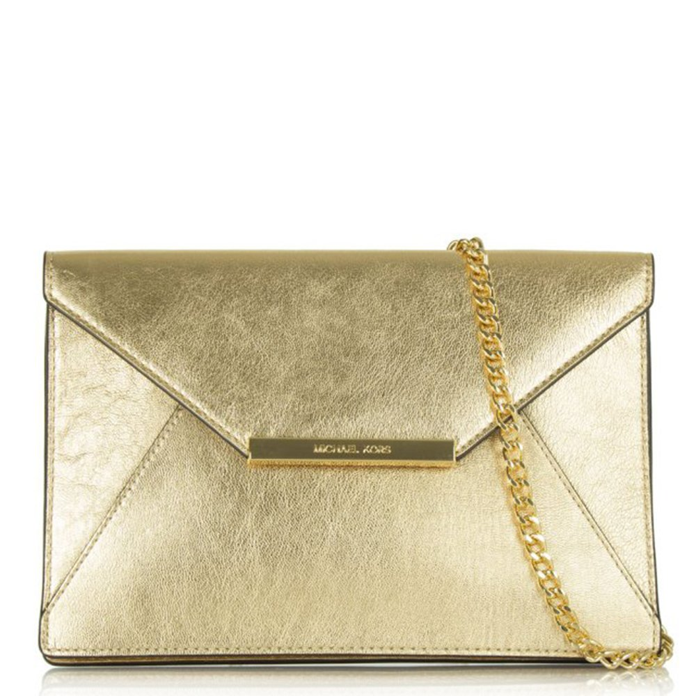 michael kors gold leather envelope clutch. Black Bedroom Furniture Sets. Home Design Ideas
