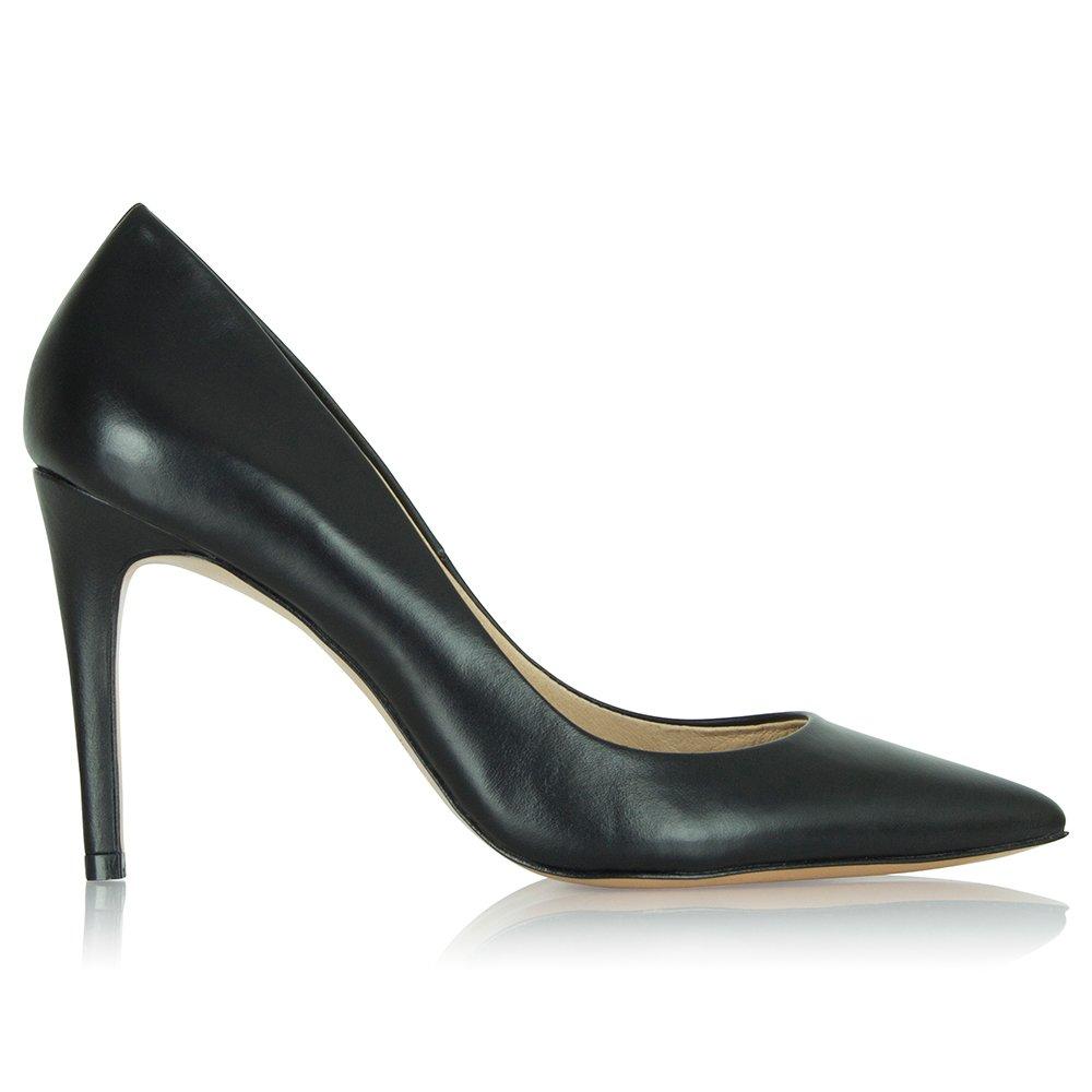 daniel black leather aysgarth pointed court shoe