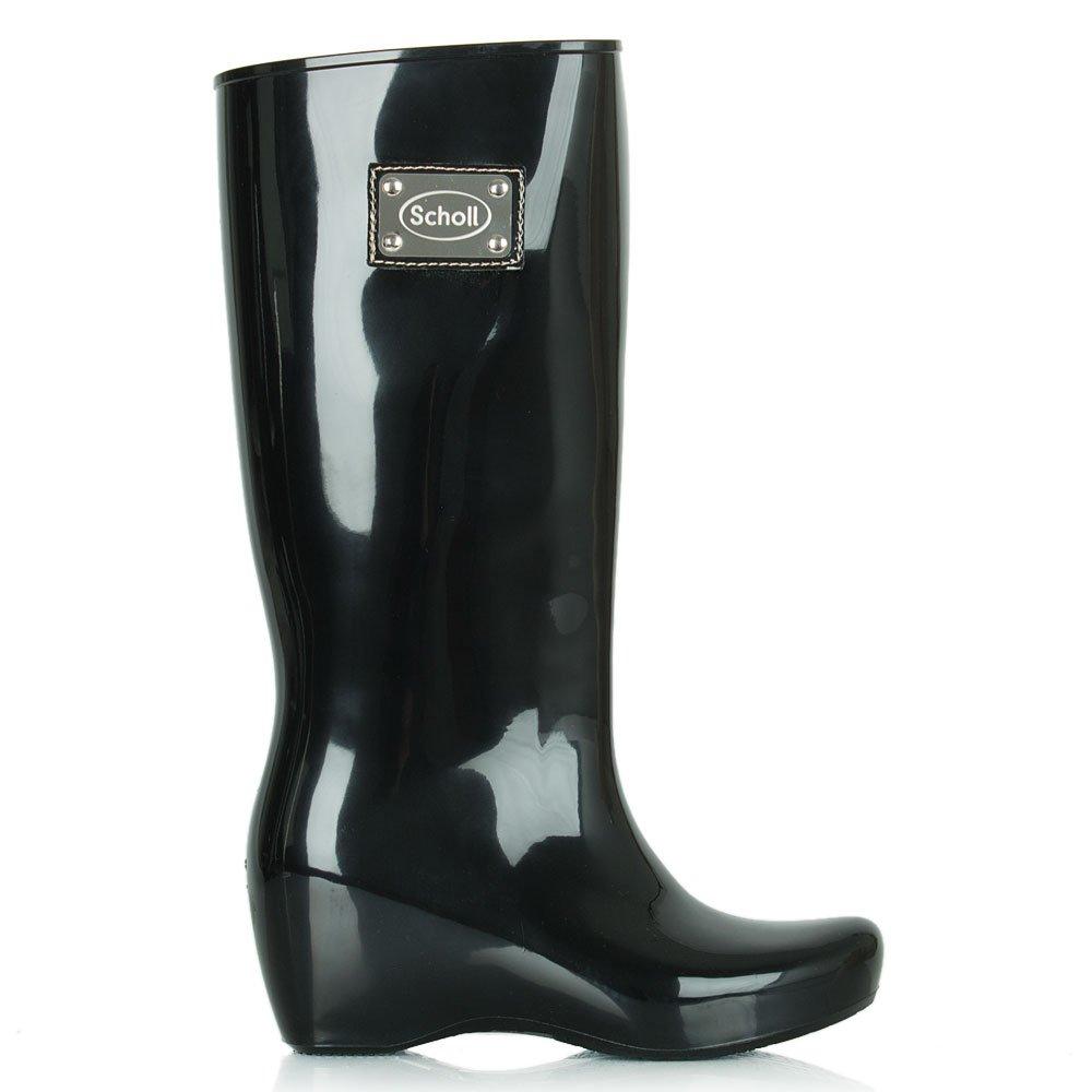 scholl black high shine wedge wellington boot