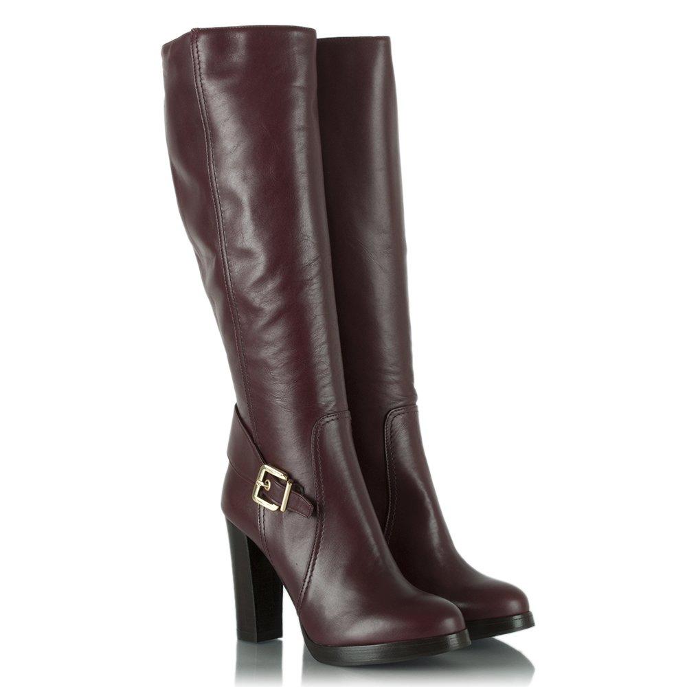 daniel elation burgundy leather knee high buckled heeled boot