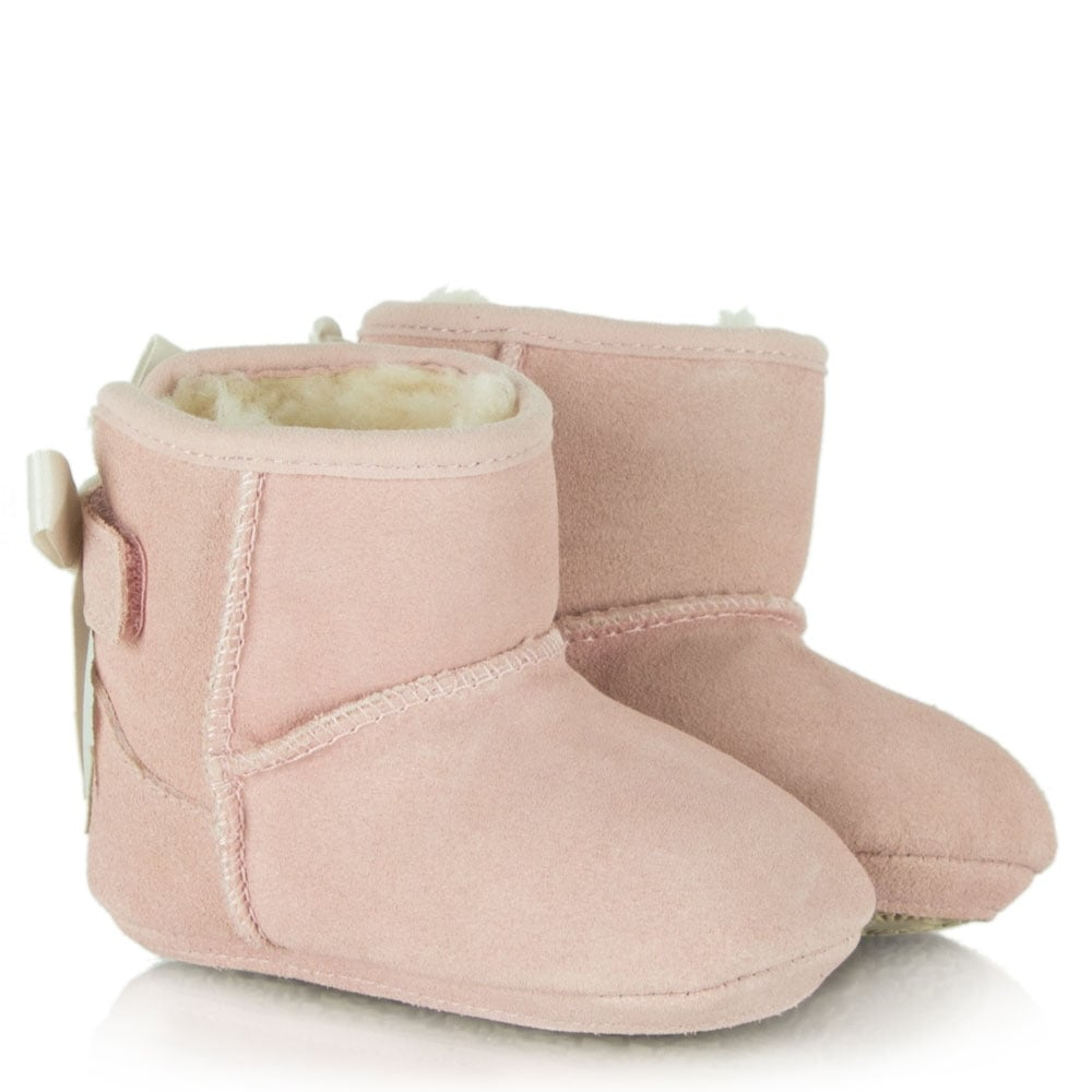 Ugg Kids Jesse Pink Suede Satin Bow Boot