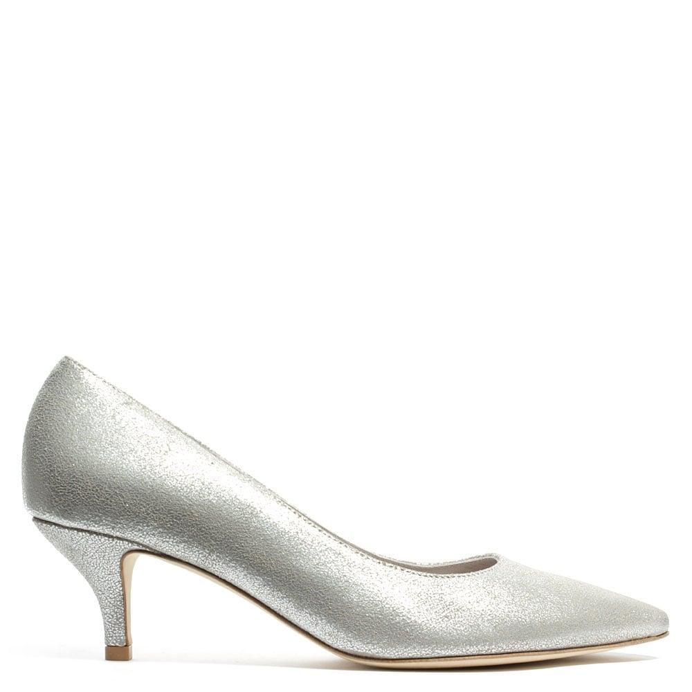 Silver Kitten Heel Court Shoes