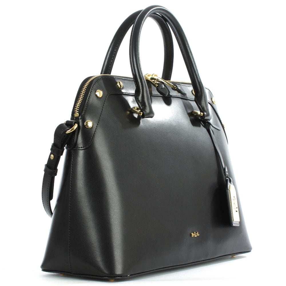 Ralph Lauren Tate Dome Satchel Laukku : Lauren by ralph tate studded black leather dome satchel