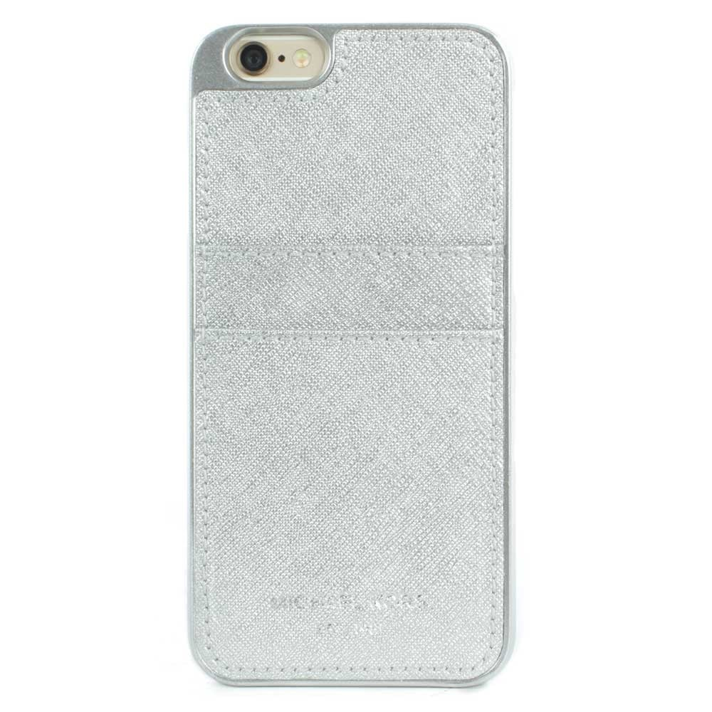 Michael kors iphone 6 silver saffiano leather smartphone case for Housse iphone 6 michael kors