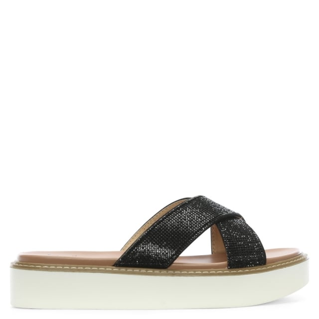 Prospect Black Diamante Cross Over Mules