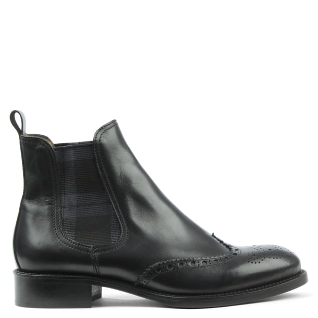Pull On Black Leather Brogue Chelsea Boot