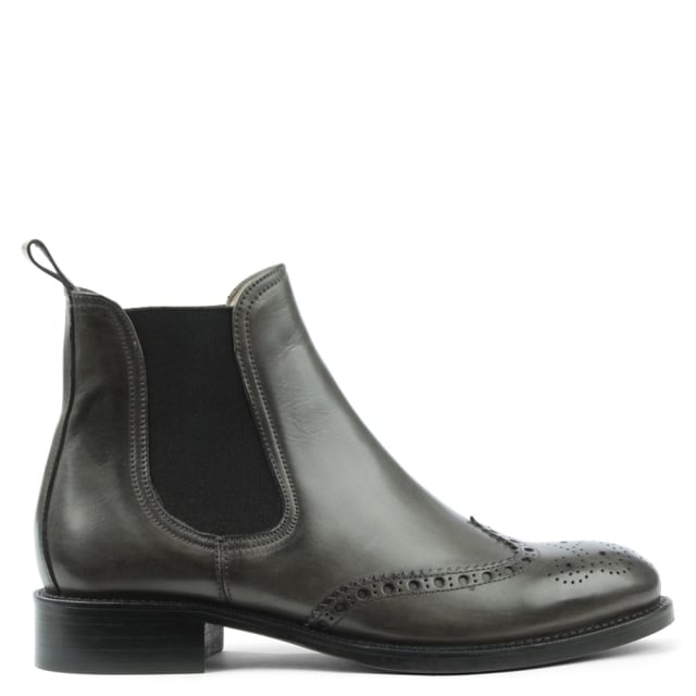 Pull On Grey Leather Brogue Chelsea Boot