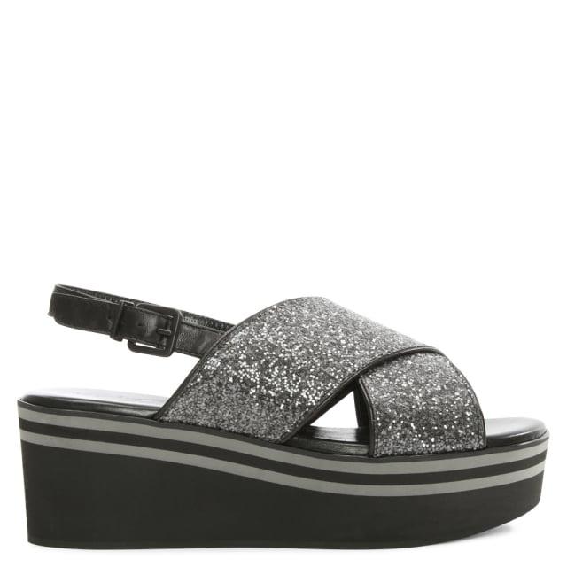 663515021cd Robert Cleigerie Pulpat Black Glitter Flatform Sandal