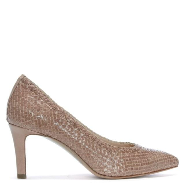 Punjab Beige Leather Woven Court Shoes